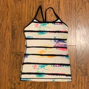 RARE Lululemon Paint Splatter Power Y Tank 4